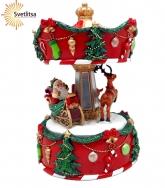 """Музыкальная карусель с вращением """"Санта в санях"""""""